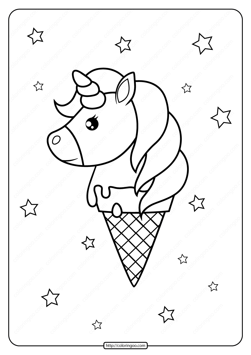 Printable Unicorn Ice Cream Cone Coloring Page In 2020 Unicorn Coloring Pages Unicorn Printables Unicorn Ice Cream