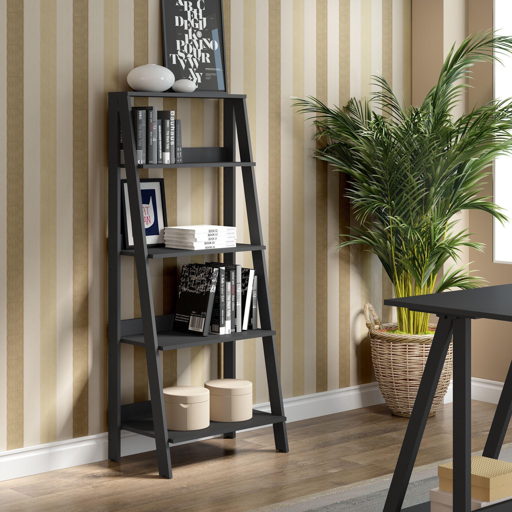 wood ladder bookshelf black products pinterest ladder