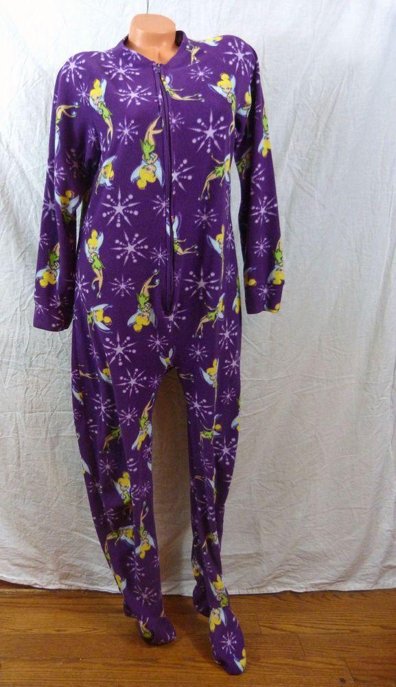 Disney Fairies Tinkerbell Adult Size M Footed Pajamas PJ s Soft Fleece Fairy  Pj  Disney  PajamaSets f06c34c937