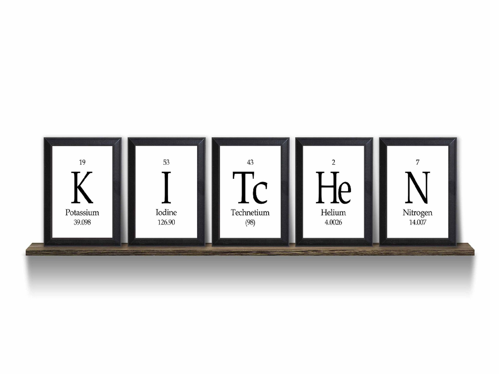Kitchen Periodic Table Framed 5 Piece Wall Plaque Set Each Plaque 5 ...