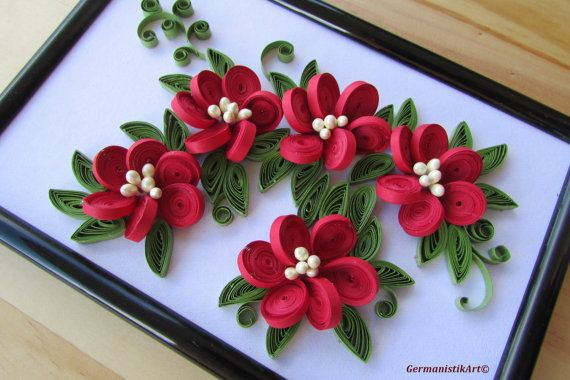 Flower Hanging Wall Art Miniature, Quilled Home Decoration, Framed Paper  Quilling Art