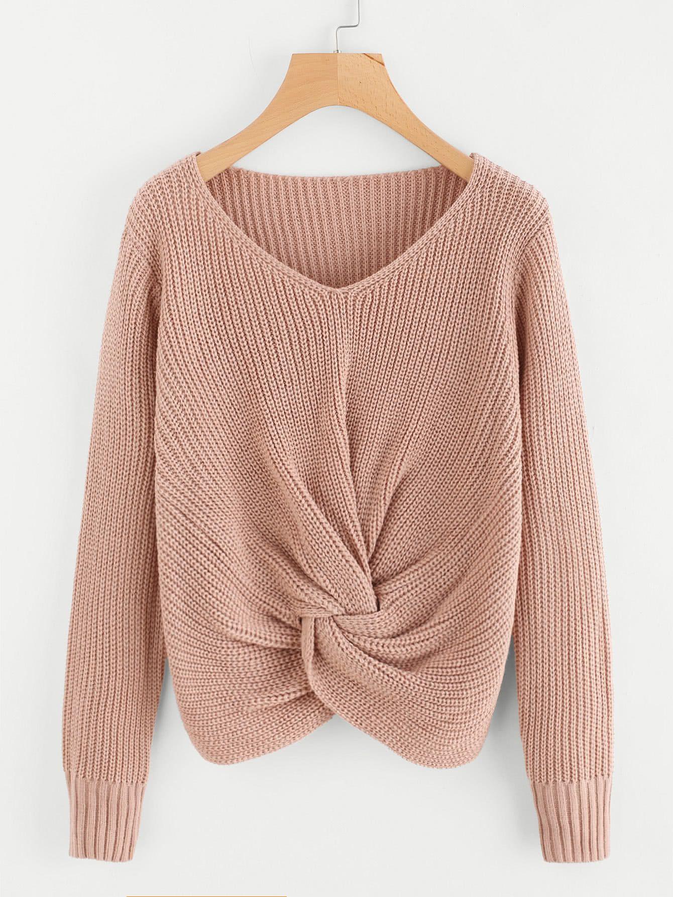 717149de49 Shop V-neckline Twist Front Sweater online. SheIn offers V-neckline Twist  Front Sweater   more to fit your fashionable needs.