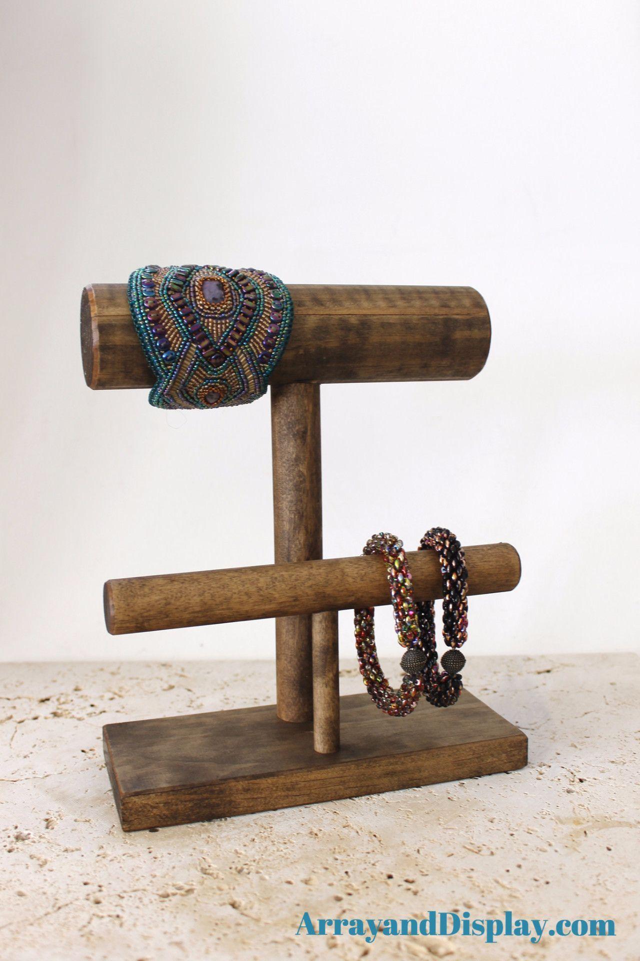 Jewelry Display 2Bar Bracelet Stand Ash Stain Jewellery