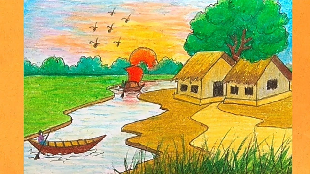 How To Draw Riverside Village Scenery Drawing Scenery Landscape