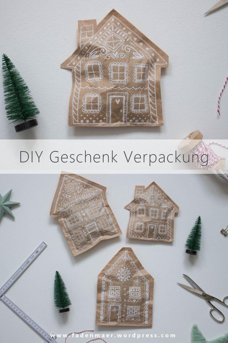 DIY Upcycling – weihnachtliche Lebkuchenhaus Verpackung aus Packpapier