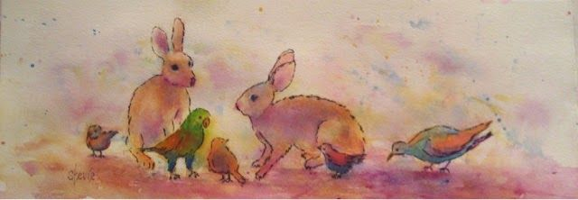 CFAI Artists: Birds and Bunnies, watercolor painting by Stevie Denny
