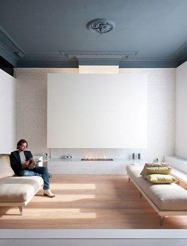 peindre un plafond avec une peinture couleur d co gris bleu plafond et peindre. Black Bedroom Furniture Sets. Home Design Ideas