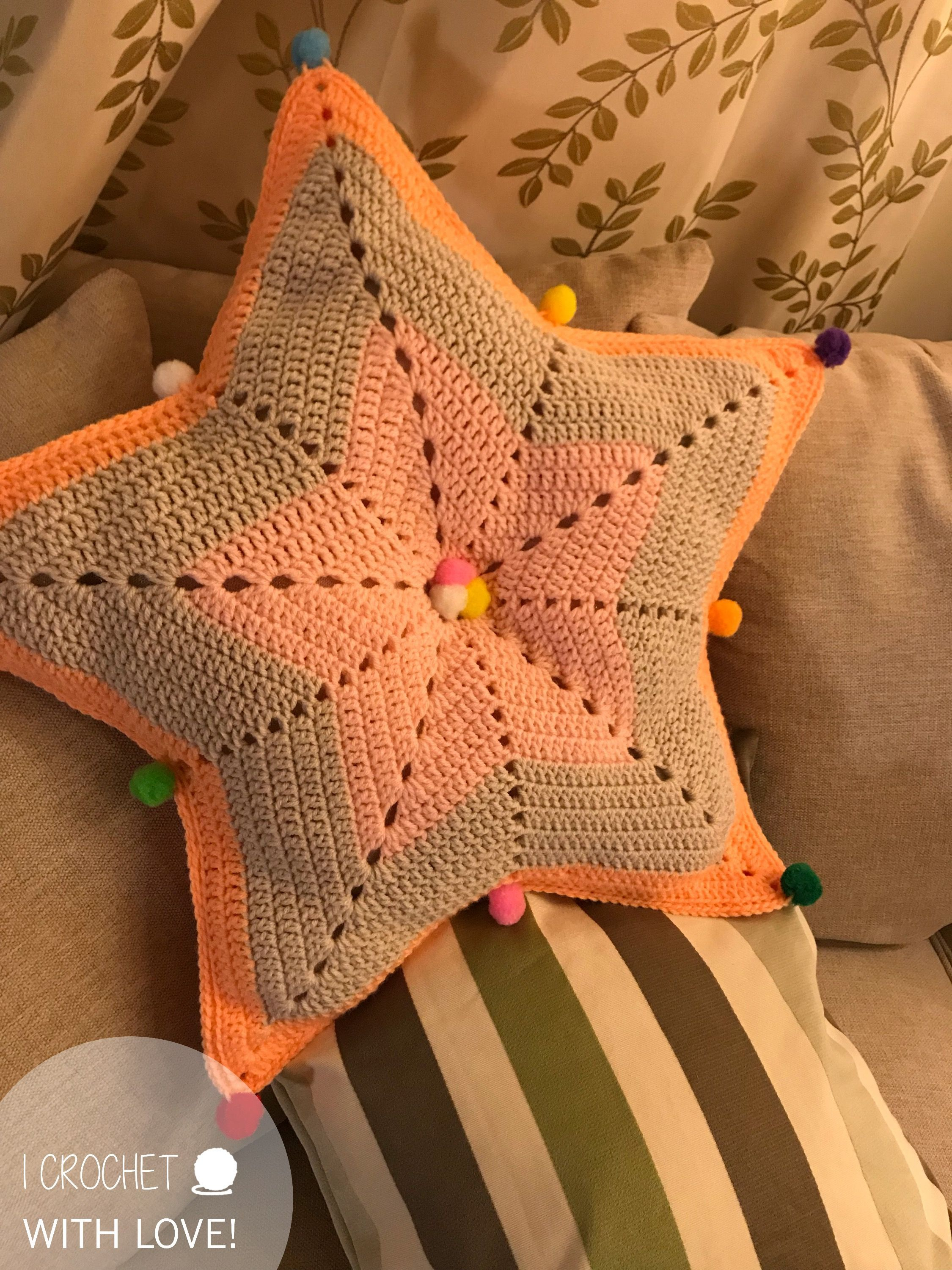 Star Pillow In 2020 Crochet Patterns Crochet Lovers Star Pillows