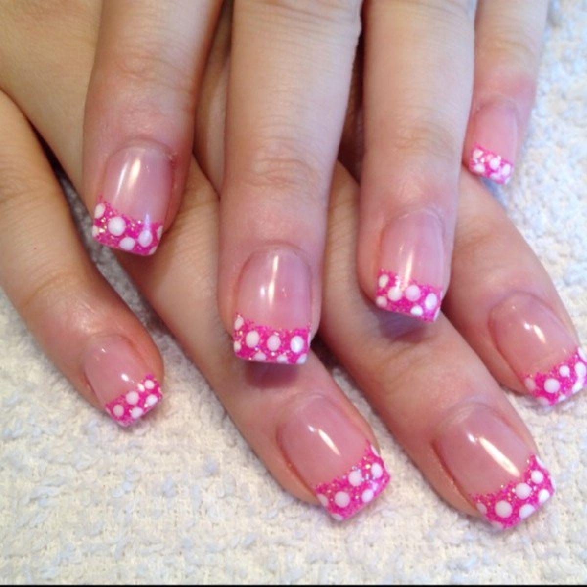 Hot Pink Glitter With White Polka Dot Acrylic Nail Tips Fake Nails Designs Gel Nail Designs Dots Nails
