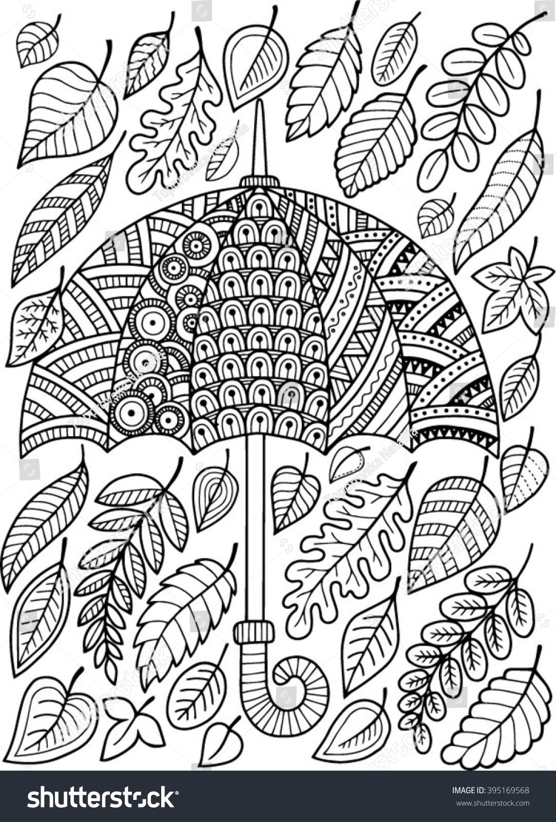 Hand draw vector doodle coloring page for adult I love Autumn An