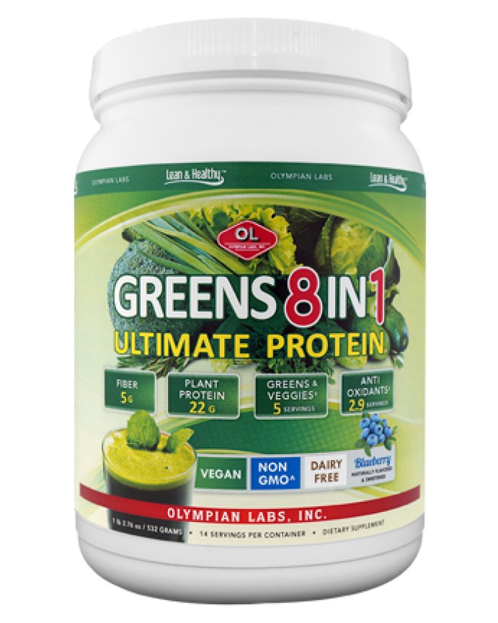 GREENS 8 in 1, ULTIMATE- Olympian Labs Ultimate Greens 8 in 1 with Protein is a delicious, nutrient-rich, complete greens drink mix that combines a blend of 8 products into 1 convenient serving
