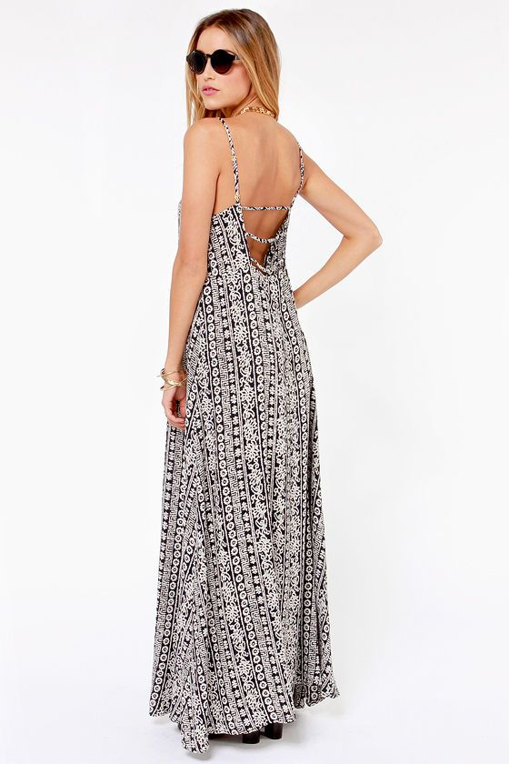 97ef8721720 Wandering Minds Cream and Black Print Maxi Dress at LuLus.com!