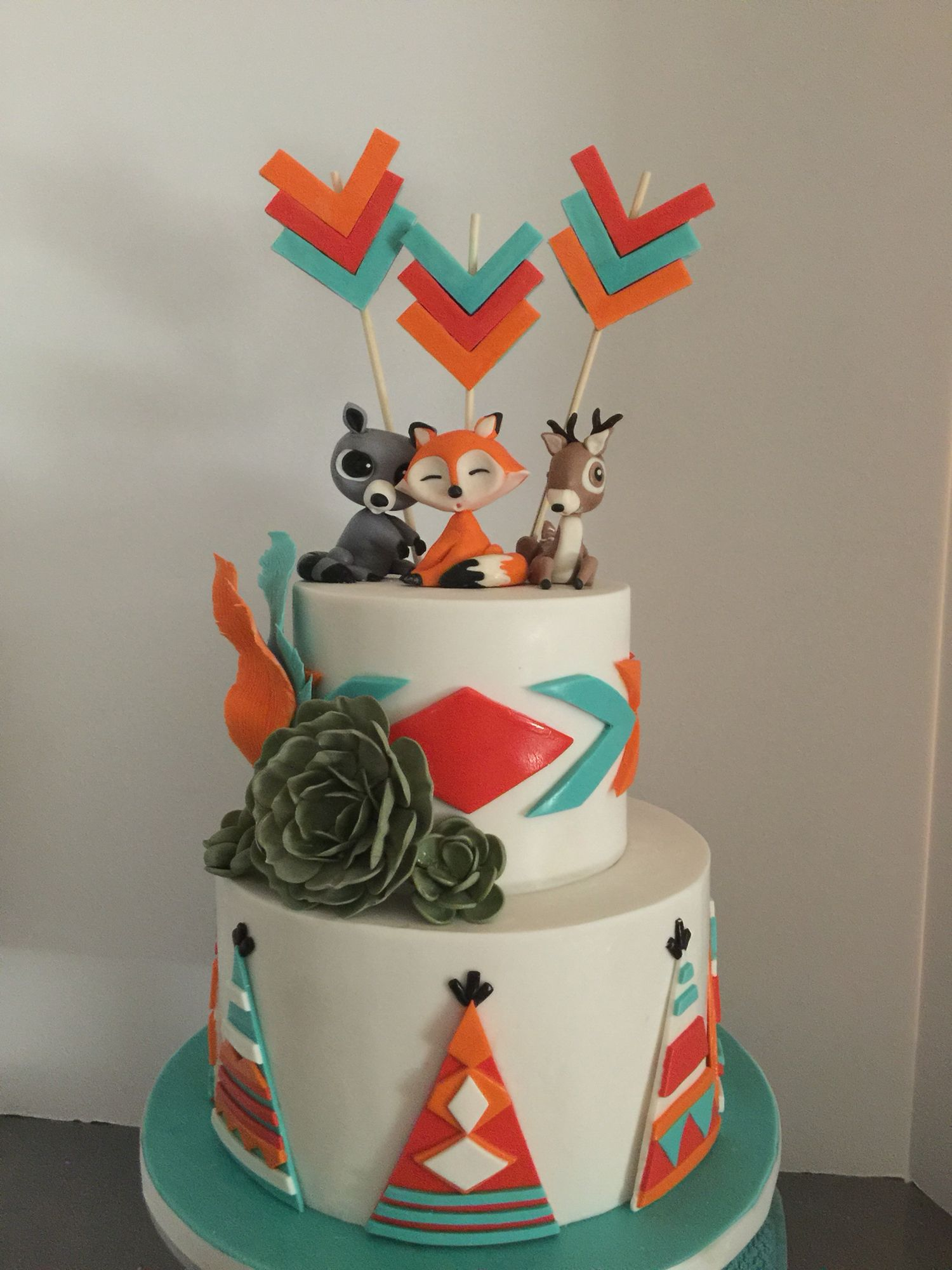 Woodland Animal Theme Cake With Southwestern Influence