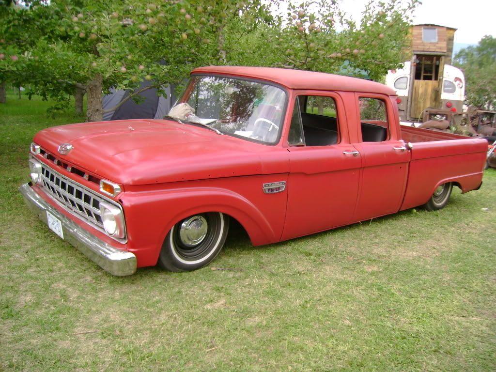Slammed old ford crew cab pickup