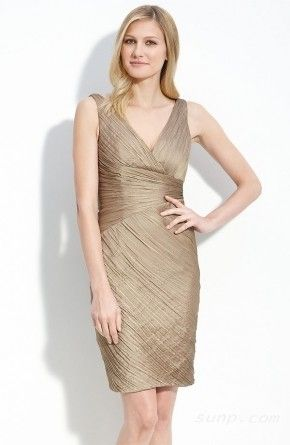 champagne knee length dress