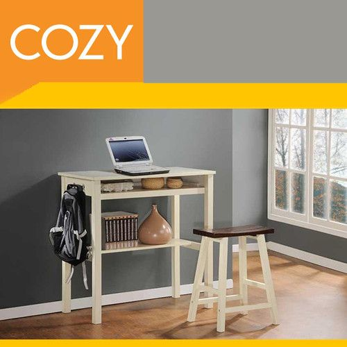 Small Hallway Kitchen Console Desk Table & Stool Set Wood, Oak & White
