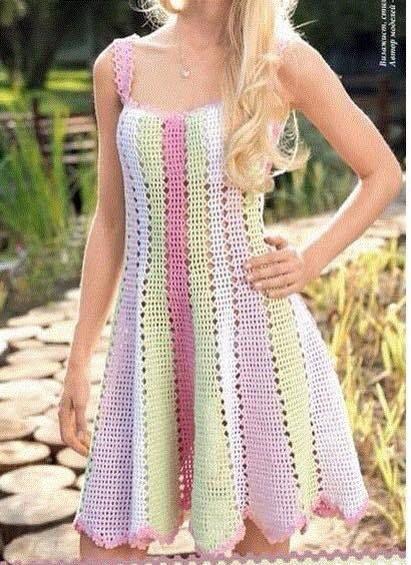 Patrón #800: Vestido a Crochet   vestido de rayas   Pinterest ...