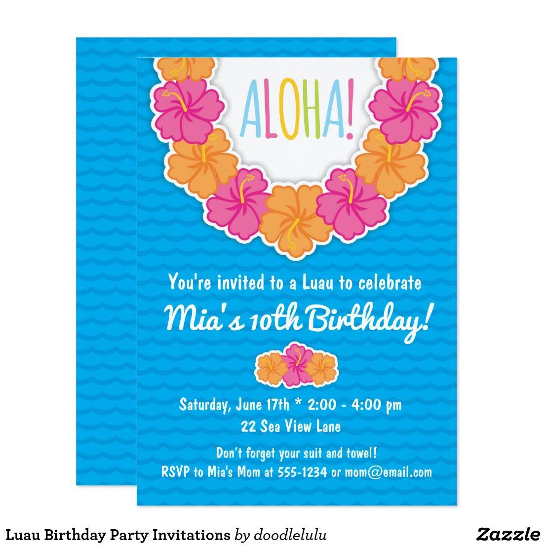 Luau Birthday Party Invitations Zazzle Com Birthday Party