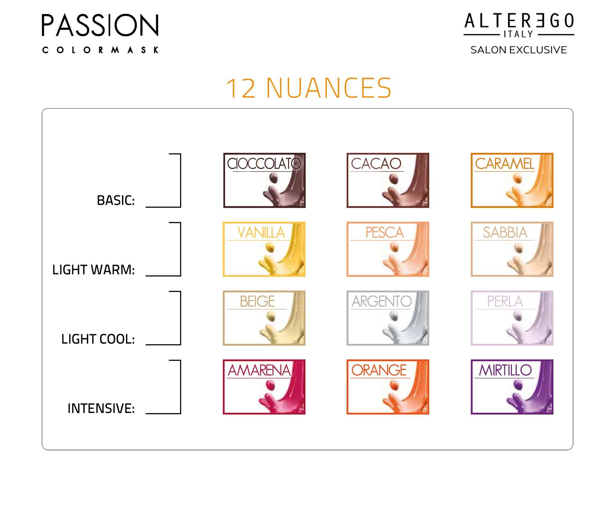 alter ego italy passion colormask 12 nuances color chart color