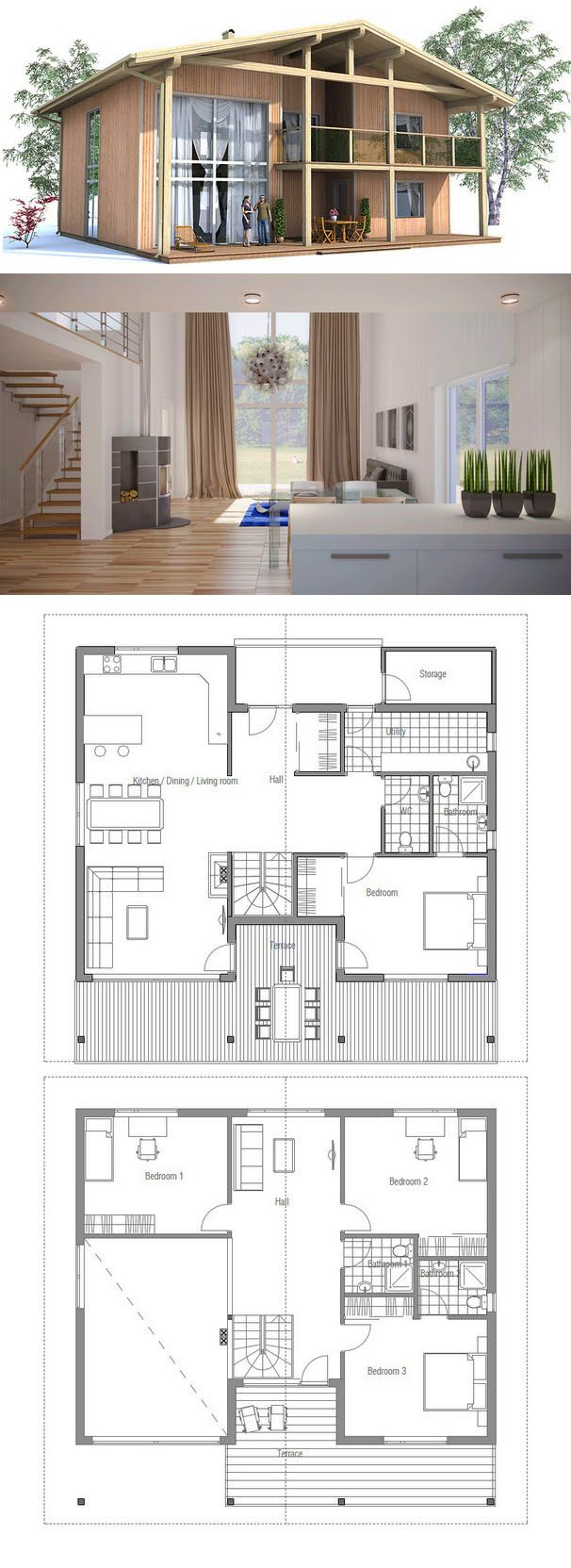 Modern House Plan with four bedrooms Suits