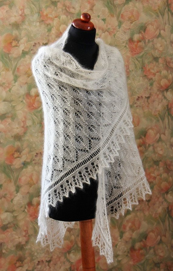 Knitted lace shawl wedding shawl mohair shawl mohair | Ganchillo ...