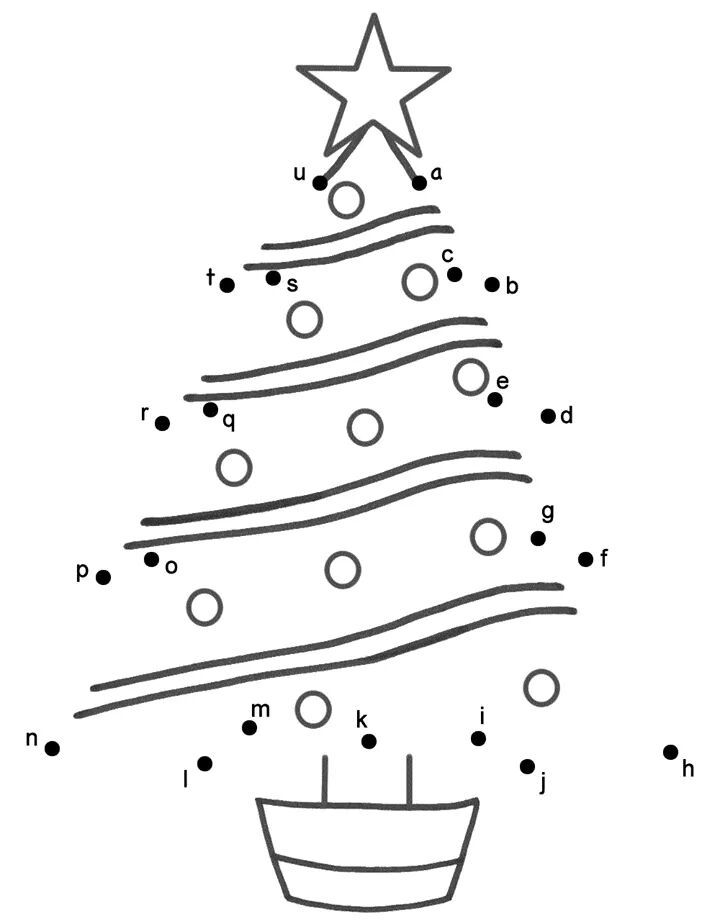 Abc Alphabet Connect The Dots Funnycrafts Christmas Tree Coloring Page Tree Coloring Page Christmas Coloring Books