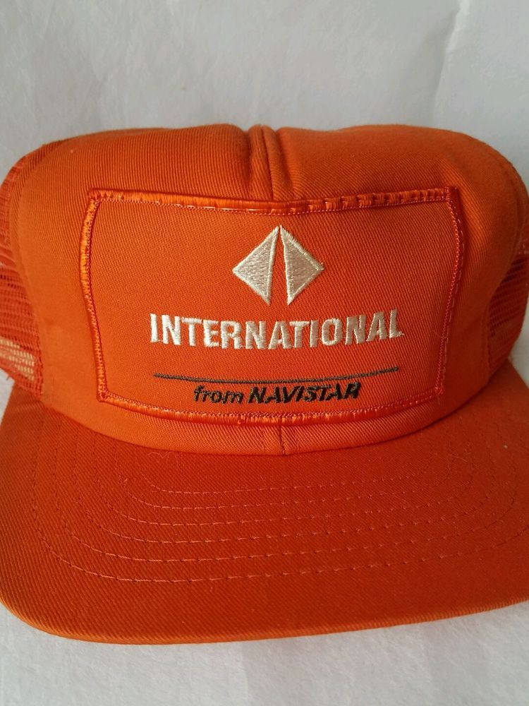 Vintage International Navistar Orange Mesh Trucker Snapback Hat Cap  #CAP #TruckerHat