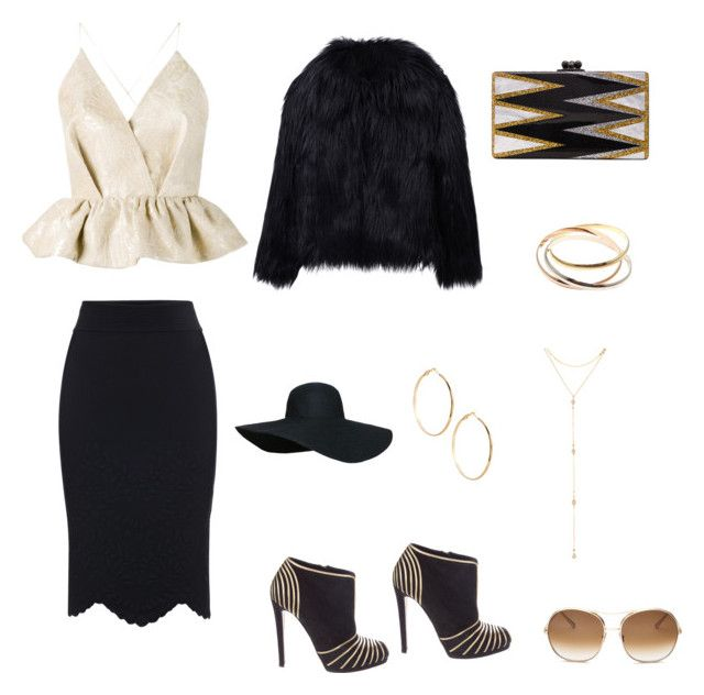 """""""Untitled #2110"""" by jamierountree1 ❤ liked on Polyvore featuring beauty, Edie Parker, Cartier, Delpozo, Alexander McQueen, Sergio Rossi, WithChic, Fragments, GUESS by Marciano and Chloé"""