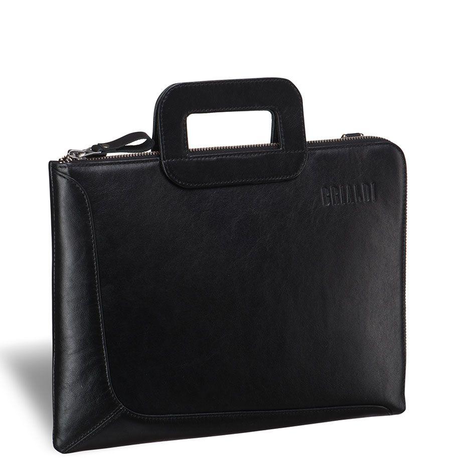 """Деловая сумка BRIALDI Fontana (Фонтана) black     Современная стильная компактная сумка для документов формата А4 и ноутбука 13,3"""". Стиль и дизайн этой модели доведен до совершенства. Г-образный угол открытия молнии обеспечивает удобный доступ внутрь. В основном отделении расположен вместительный карман на молнии для документов и канцелярии. Съемный плечевой ремень выполнен из кожи."""