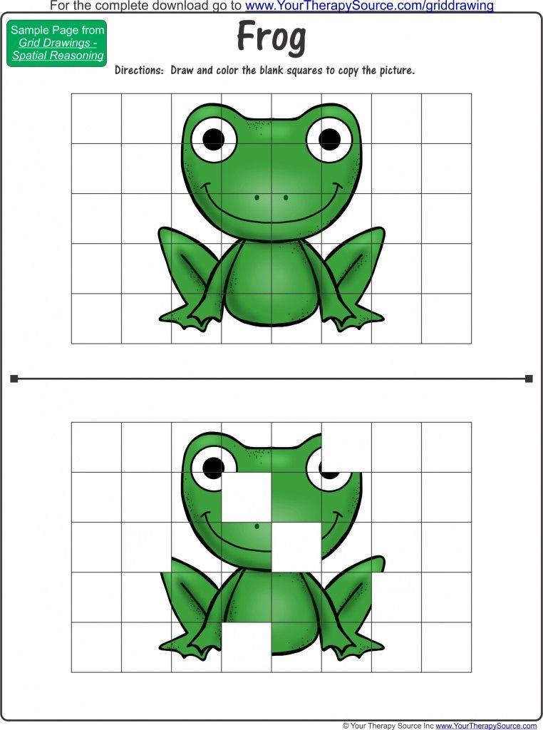 Free Frog Grid Drawing Pediatric School Based Ot Pt Blog