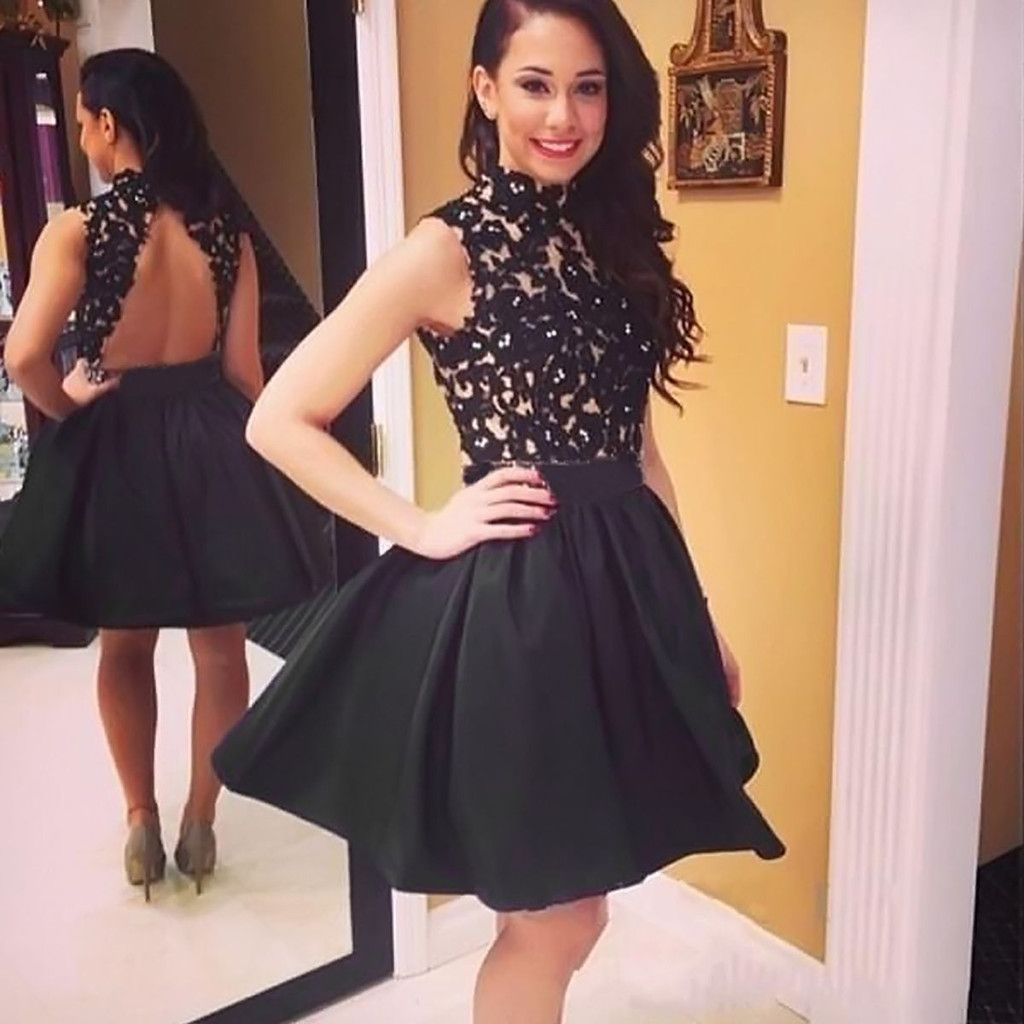 Sexy lace stitching black halter dress homecoming dresses