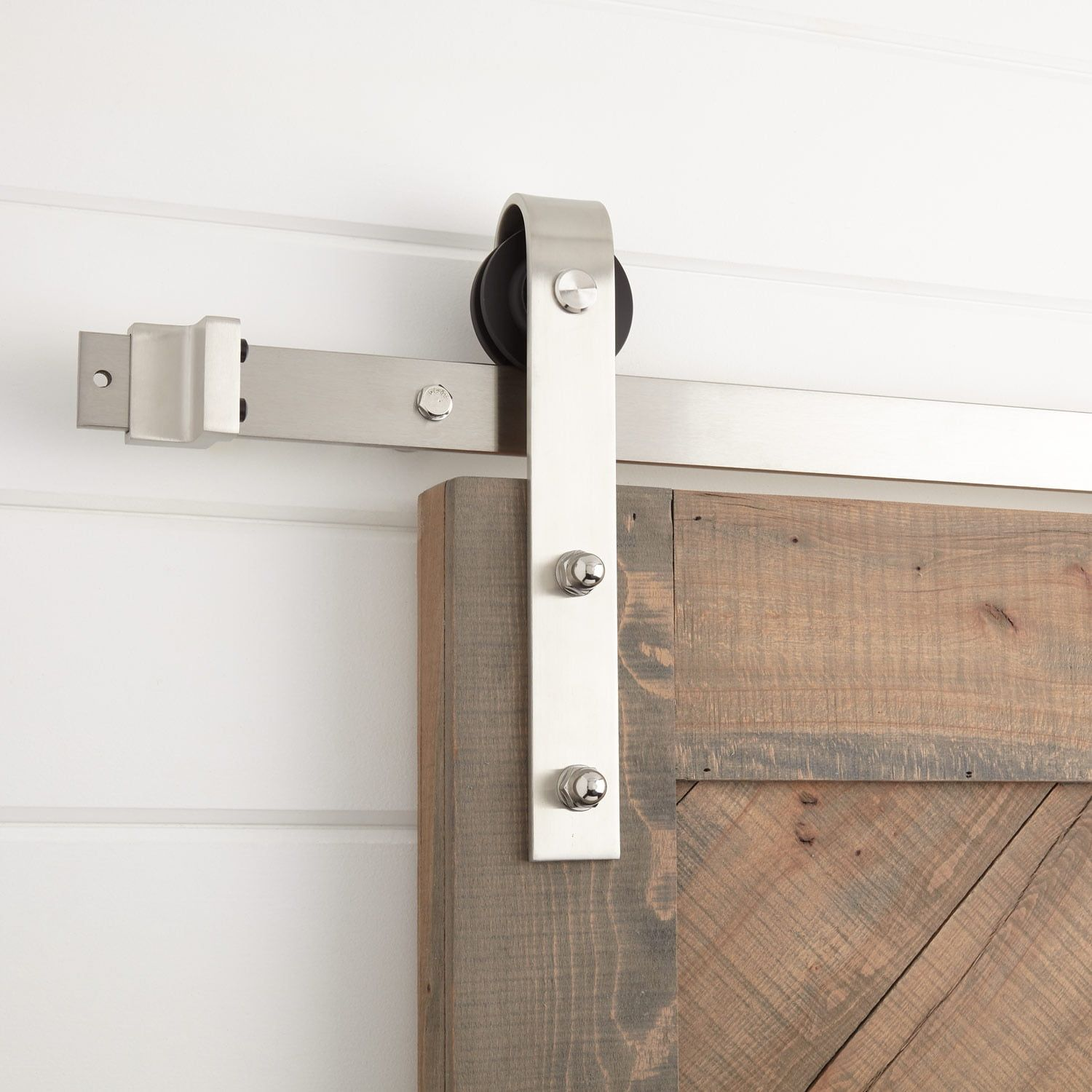 The Hal Barn Door Hardware Has A Timeless Look That Works For A Variety Of Decor Styles Made Of Stainless Steel Th Barn Door Hardware Barn Door Door Hardware