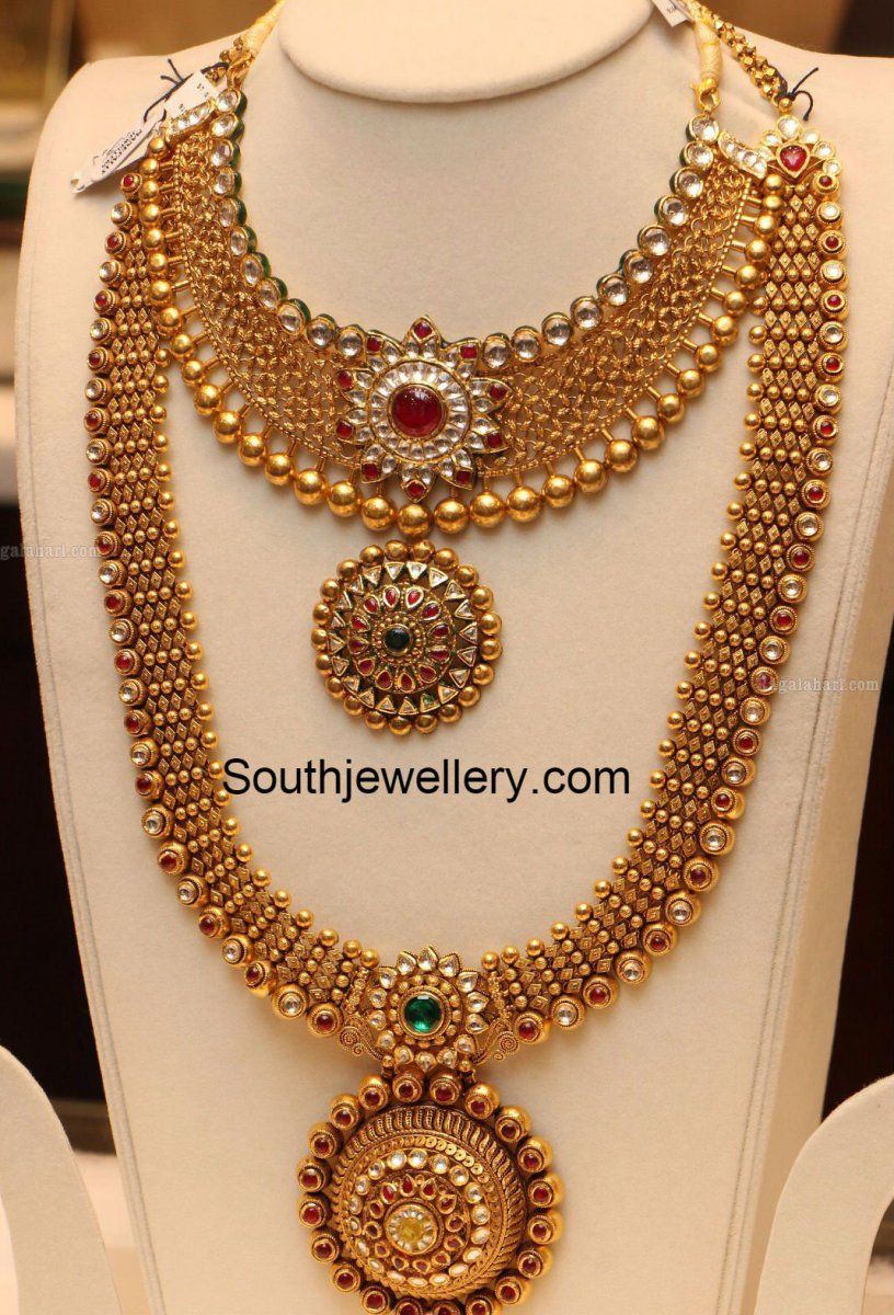 Antique Gold Necklace And Haram Set Jewellery Designs Gold Necklace Indian Bridal Jewelry Gold Jewelry Fashion Bridal Fashion Jewelry