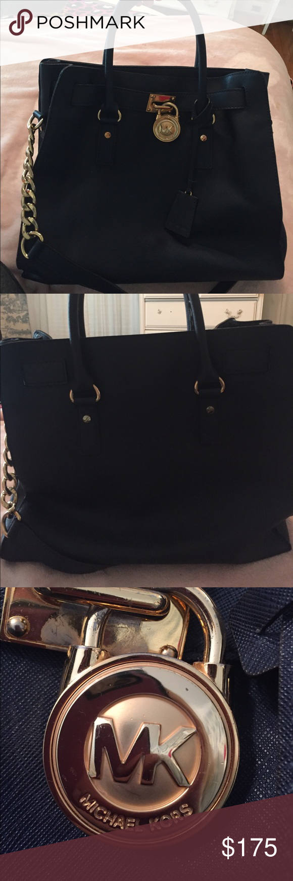 Michael Kors Hamilton purse Excellent condition navy Michael kors Hamilton. Very little wear on handles and hard ware. Tried to show best in photos. Offers welcome. Michael Kors Bags