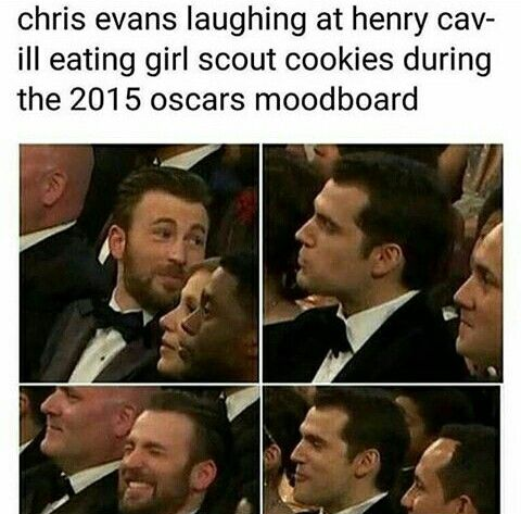 Chris Evans Laughing At Henry Cavill Eating Girl Scout Cookies Dutiny The 2015 Oscars Marvel Jokes Funny Marvel Memes Marvel Funny