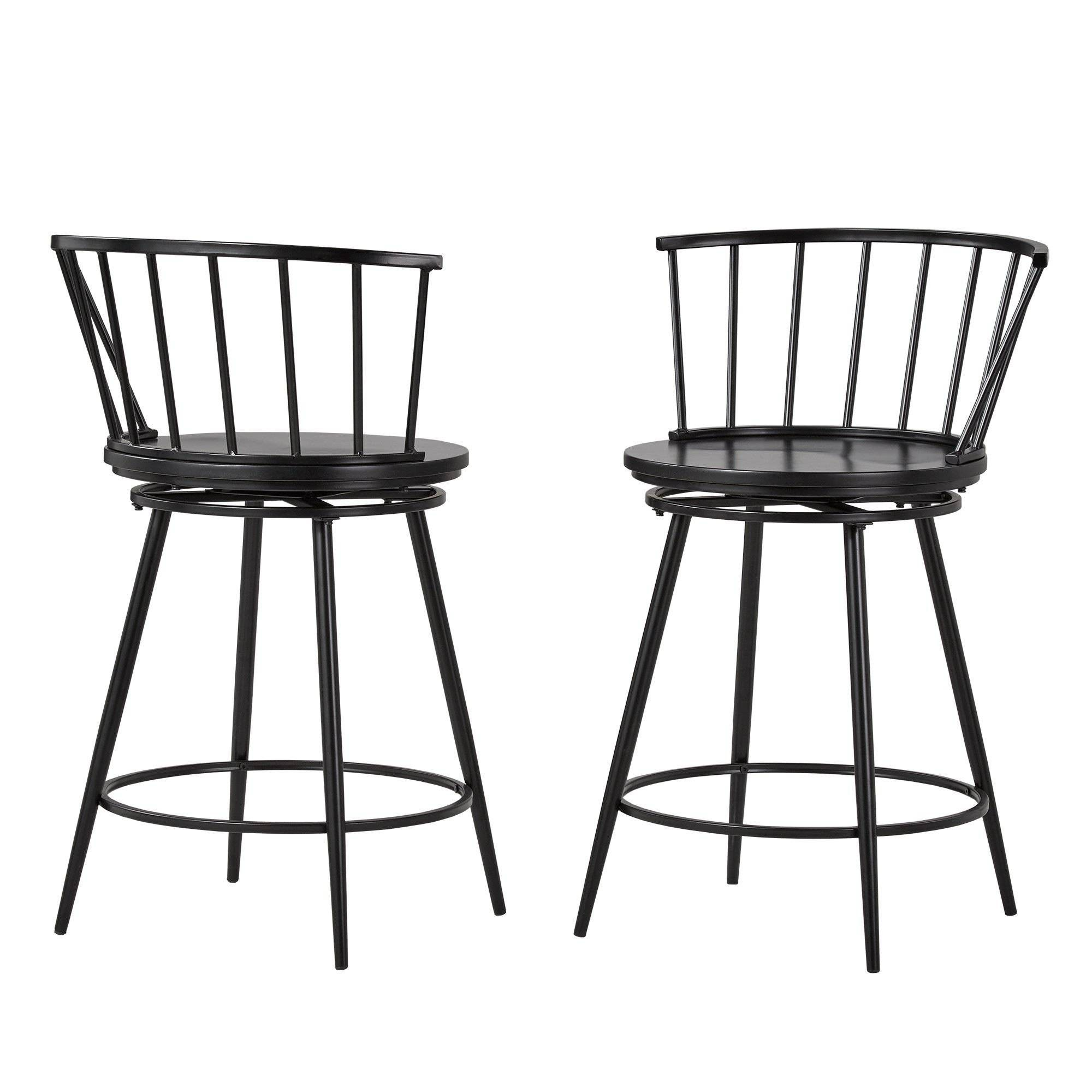 Wondrous 24 Set Of 2 Norfolk Low Windsor Counter Stool Black Machost Co Dining Chair Design Ideas Machostcouk