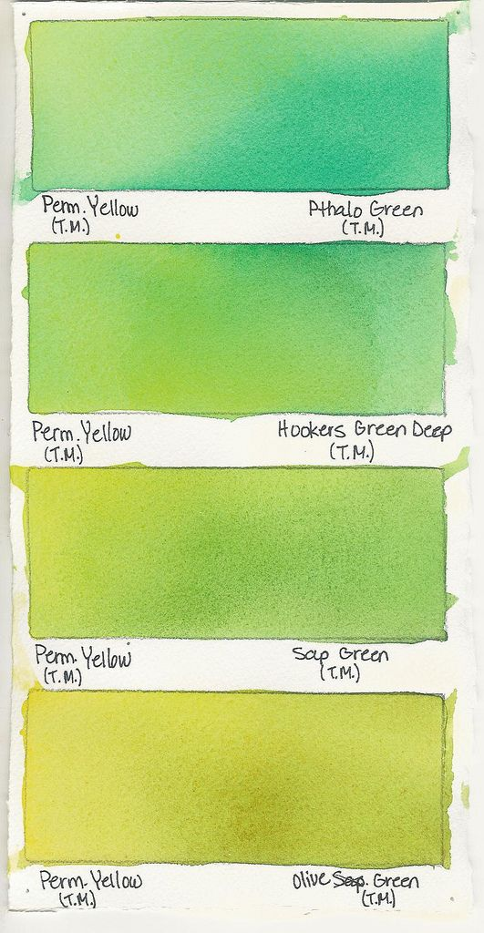 Permanent Yellow A Color Color Mixing Chart Watercolor Art