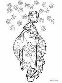 桜の花、番傘と舞妓の塗り絵の下絵、画像 | parchment carft cards