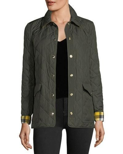 Westbridge Quilted Jacket Military Green Quilted Jacket Jackets Burberry