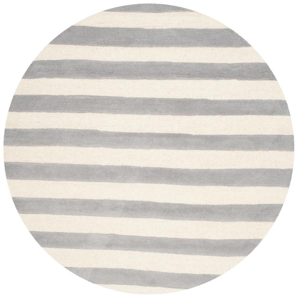 Cambridge Gray Ivory 6 Ft X 6 Ft Round Area Rug Hand Tufted