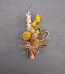 Dried Floral Rustic Wedding Boutonniere, Buttonhole, Thistle ,Craspedia, Mimosa, Heart, Everlasting Keepsake