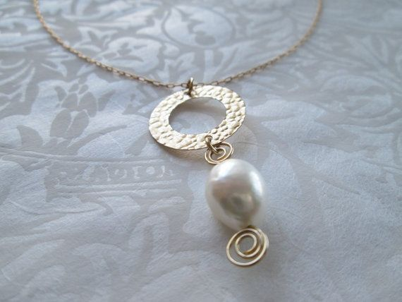 Gold necklace gold filled necklace pearl necklace by ScentOfGold, $24.00