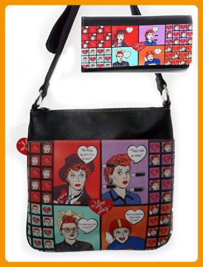 I Love Lucy Cross Body Bag And Wallet Set Cartoon Image Shoulder Purse