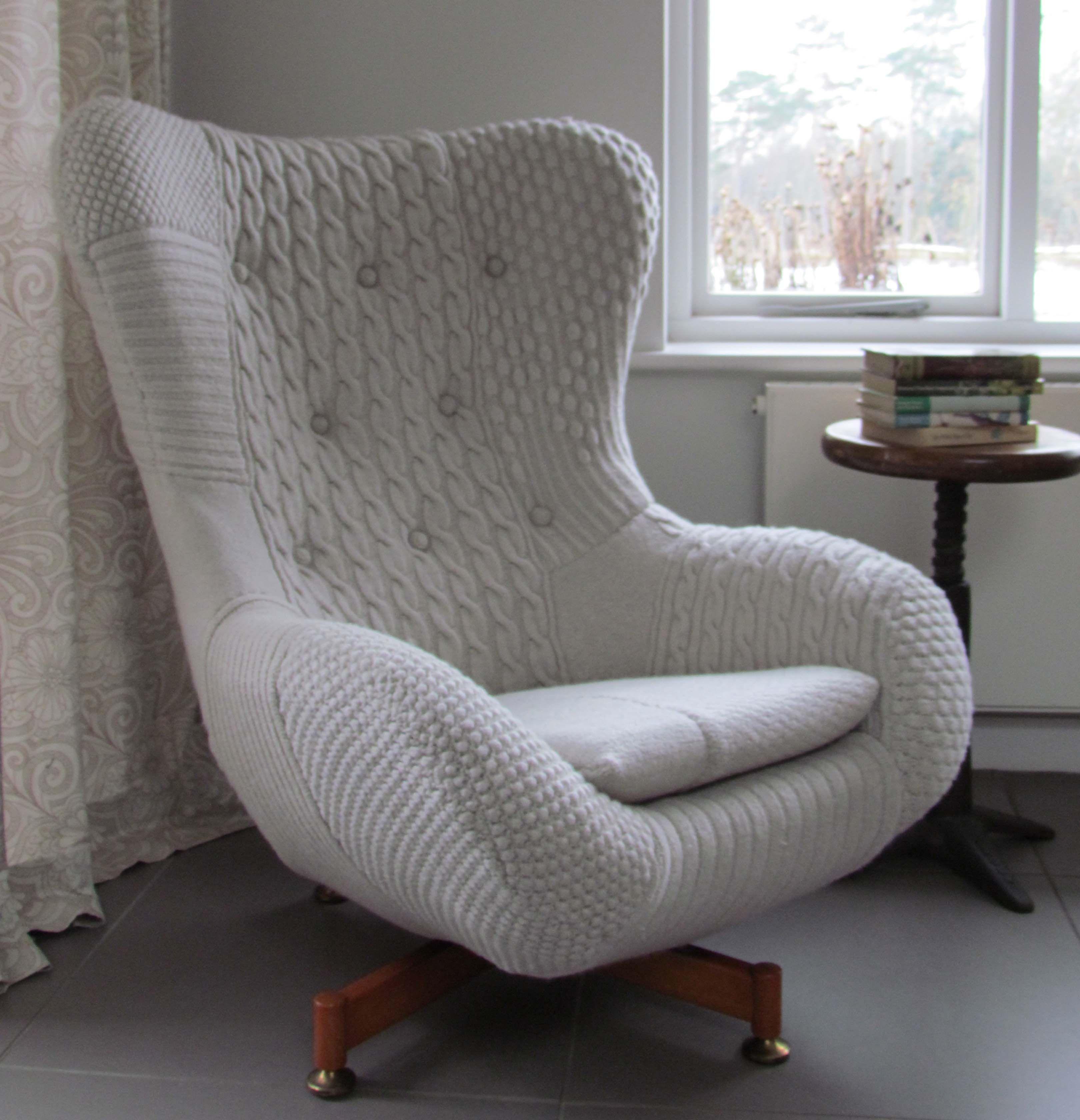 Bevis. Handknitted Vintage Swivel Chair Unusual