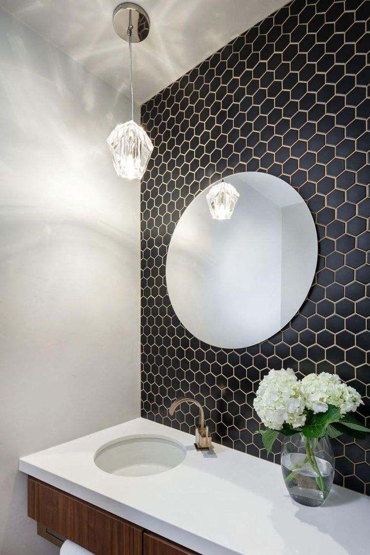 Idée décoration Salle de bain – carrelage hexagonal pour mur en noir ...
