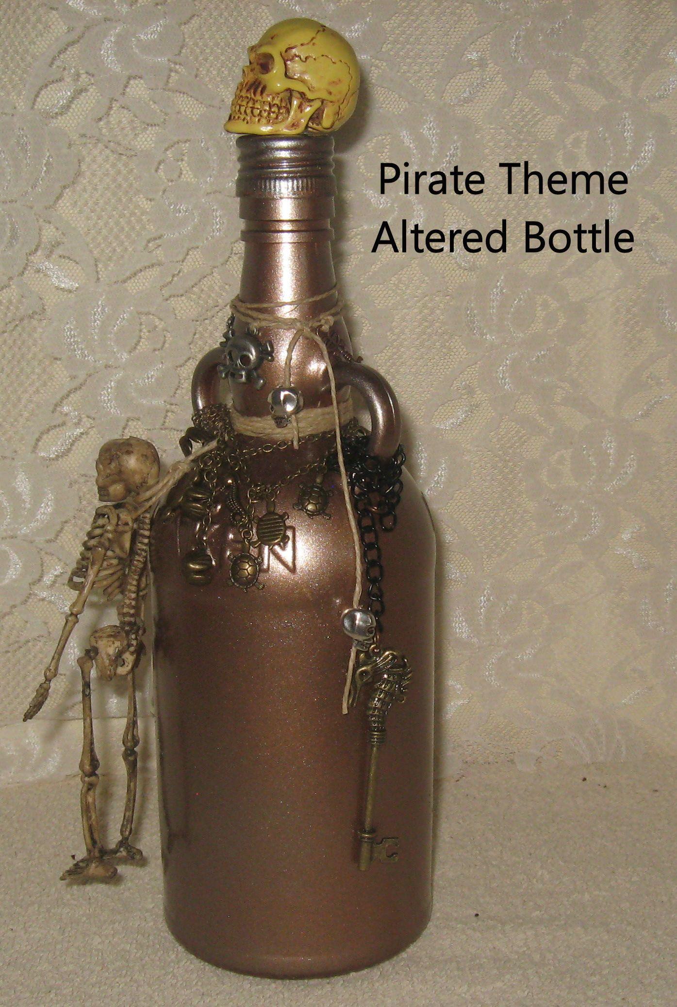 Altered Bottles Pirate Theme Bottle Upcycled Glass Bottle