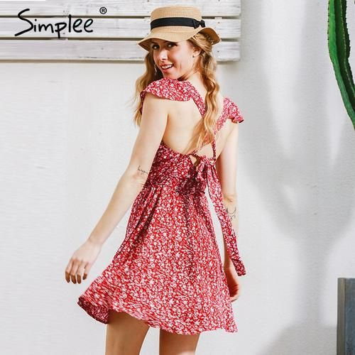 Simplee Backless Navy Fl Print Short Dress Women Back Strap High Waist Summer Vintage Red
