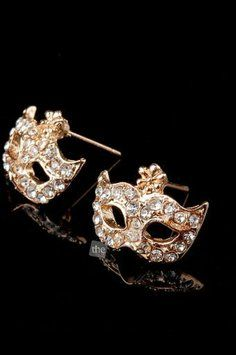 Rhinestone Mask Ear Stud $24
