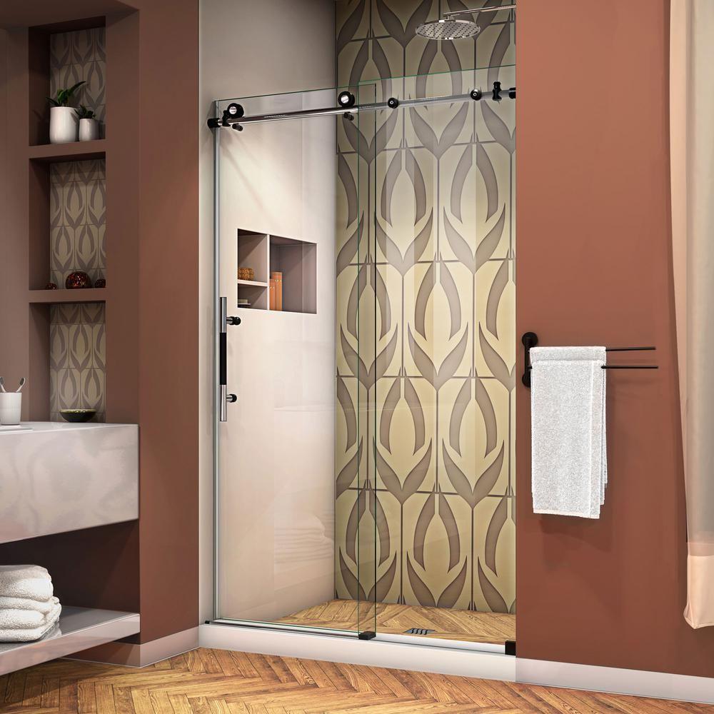 DreamLine Enigma-X 44 in. to 48 in. x 76 in. Frameless Sliding Shower Door in Polished Stainless Steel #framelessslidingshowerdoors