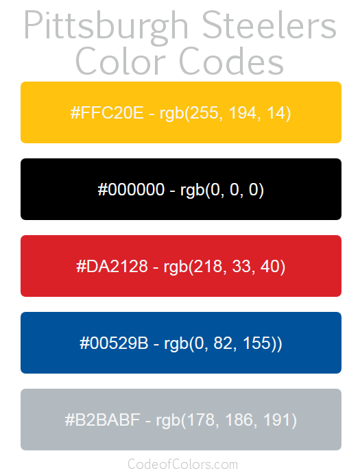 Pittsburgh Steelers Team Color Codes | NFL Team Colors in ...